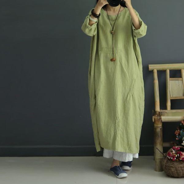 Casual loose retro linen autumn dress