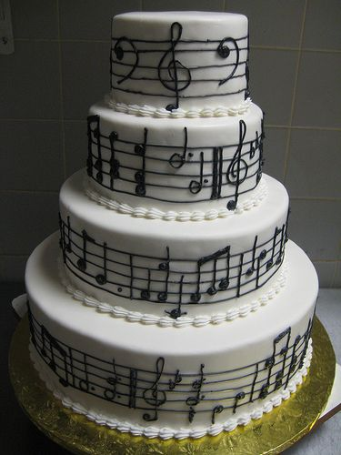 Music Notes Wedding Cake Bolo Tema Musica Ideias De Bolos