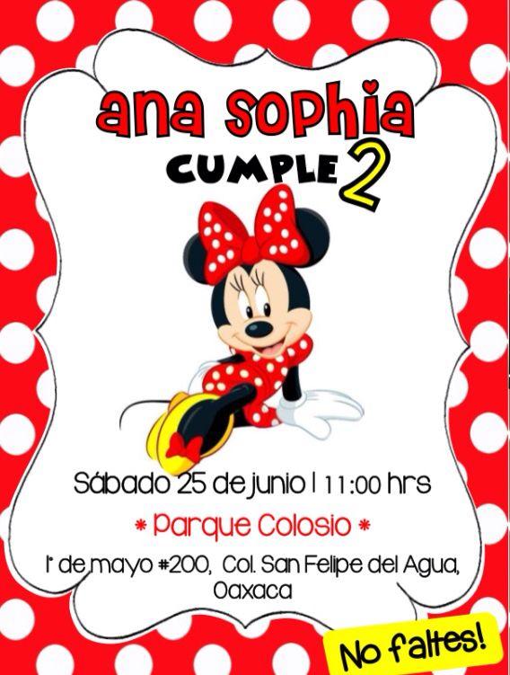 Invitación Minnie Mouse Roja Fiestainfantil Opcion1