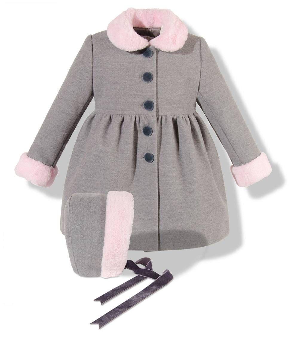 5365a7a5f7f7 Precioso abrigo infantil de paño gris con cuello y puños en pelo rosa para  niña