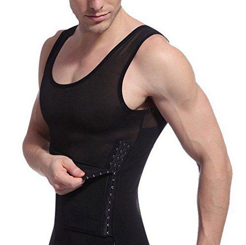 Mens Best Slim Body Waist Belly Shaper Chest Compression Tummy Control Vest Tank