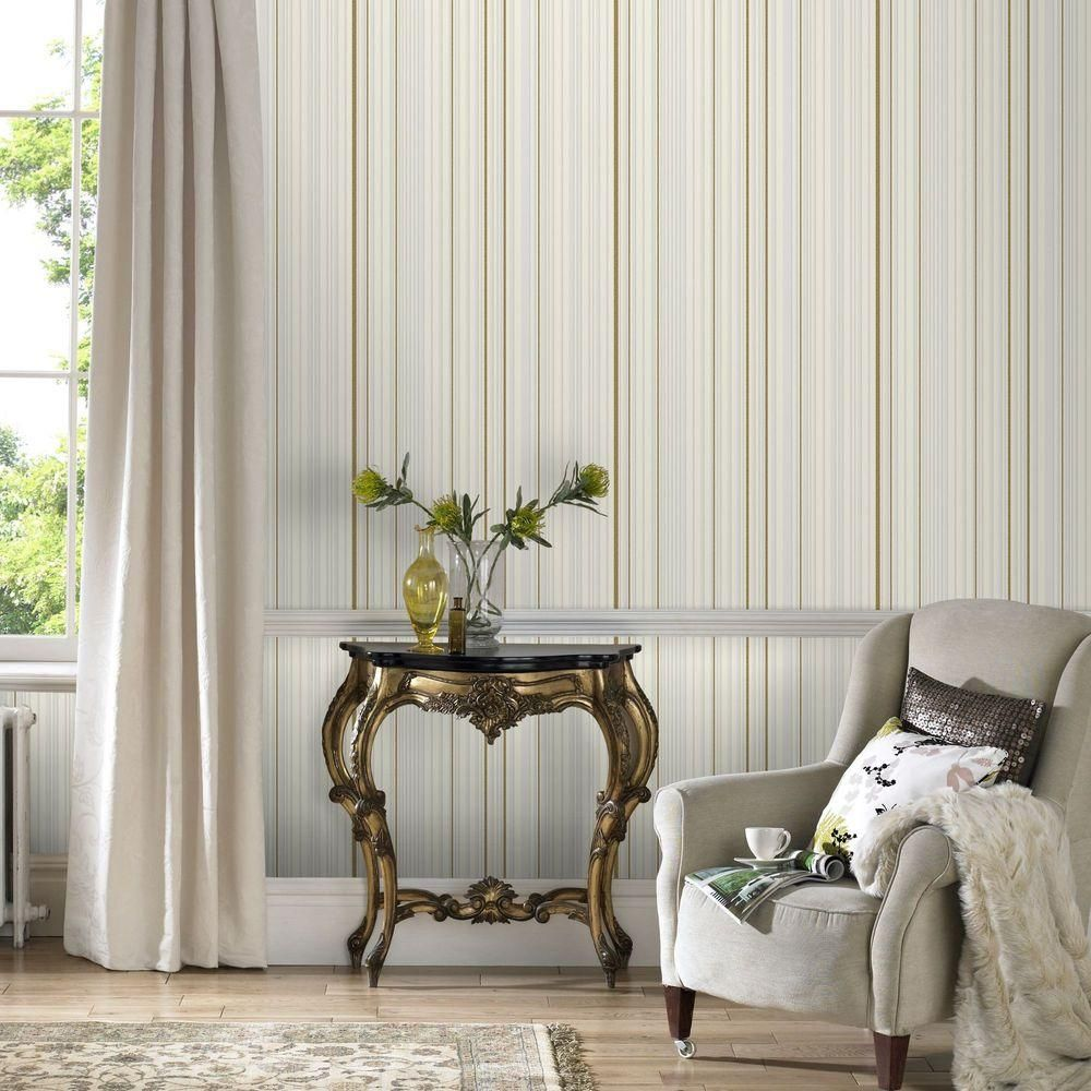 Graham & Brown White and Gold Maestro Stripe Removable