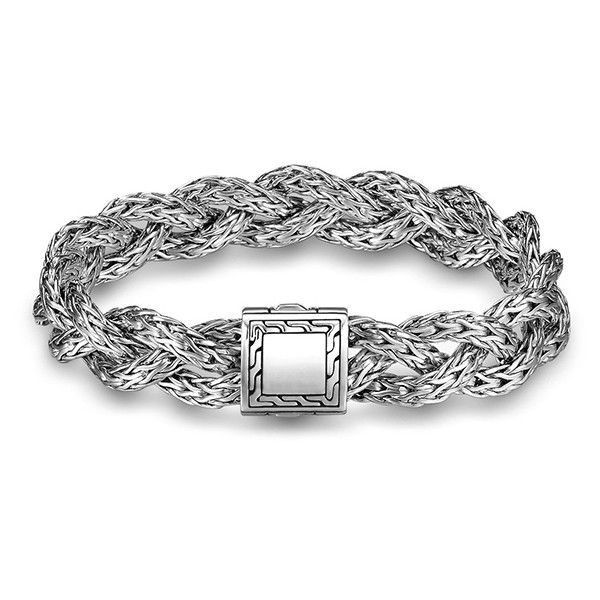 John Hardy Classic Chain Large Braided Bracelet 695 Liked On Polyvore Featuring Jew Silver Bracelet Designs Silver Braided Bracelet Black Sapphire Jewelry
