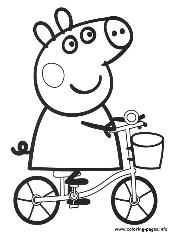 Print Peppa Pig Drive Bike Coloring Pages Tegning Til Born