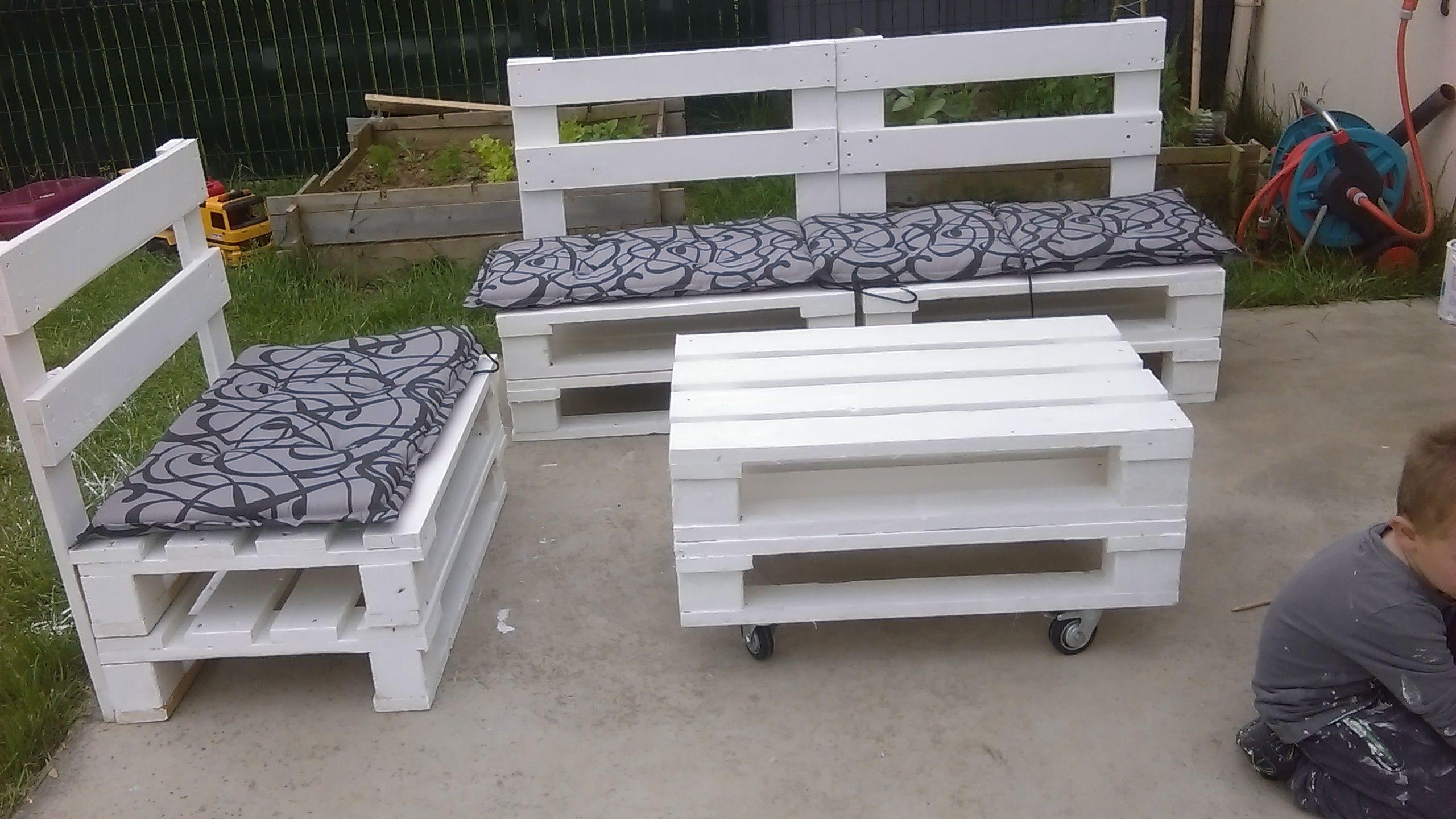 Salon de jardin réalisé avec des palettes | Agrément de ...