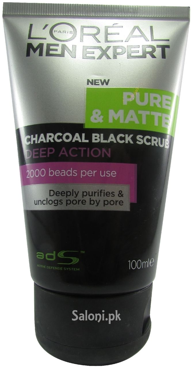 Saloni Paris L Oreal Paris Men Expert Pure Matte Charcoal Black Scrub 100 Ml