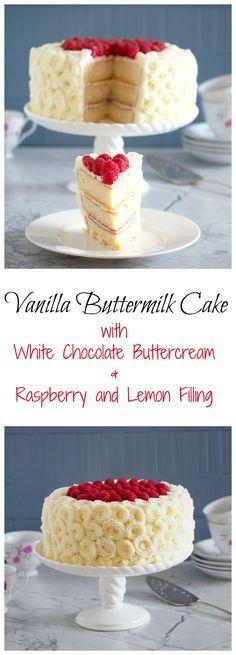 Vanilla Buttermilk Cake Recipe White chocolate buttercream