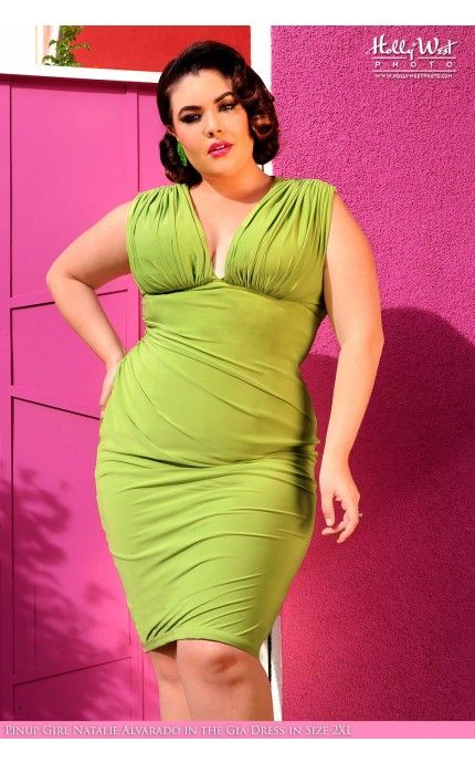 Gia Dress In Lime Green Plus Size Fashion Pinup Goddess