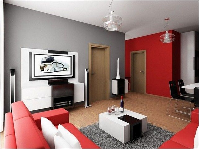 Home Apartment Gray Plus Red Painted Wall Matching With L Shaped Sofa Fur Rug That Lied In Simple Living Room