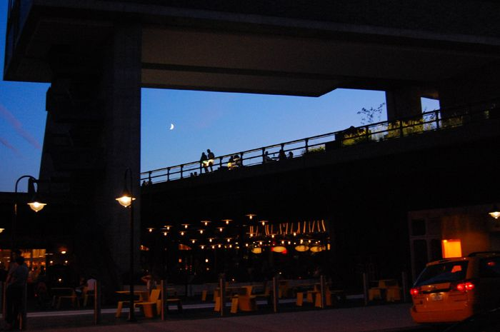 A crescent moon hangs in the distance as visitors enjoy a summer evening on the High Line under The Standard, New York. Photo by Judy Mann.