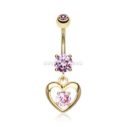 Golden Heart Gem Sparkle Belly Ring (Pink)