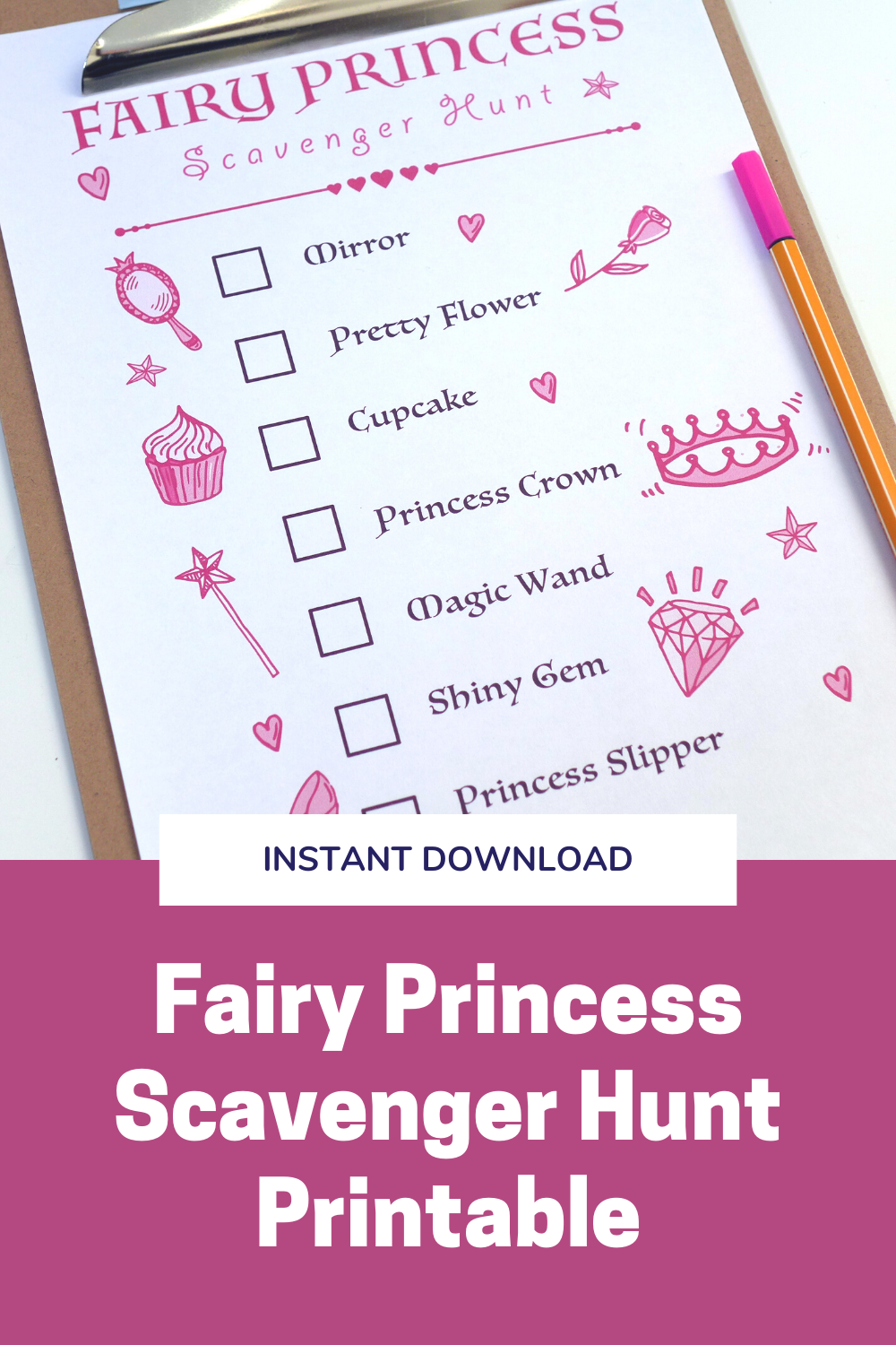 Fairy Princess Scavenger Hunt Printable For Kids Fairy Princess Party Game Girly Pink Party Activity In 2020 Princess Party Games Fairy Princess Party Princess Birthday Party Invitations