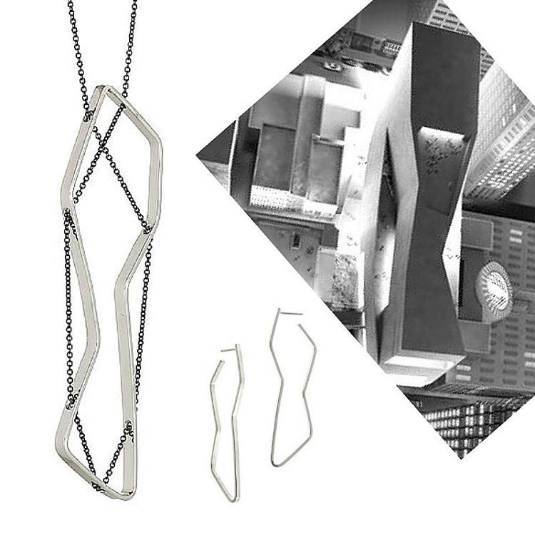Design Process: One of the foundation pieces of the 2013 SFMOMA inspired collection the LINEA necklace was inspired by the shape of the aerial view of the new snohetta wing. The metal pendant references the top of the building while the chain creates the terraces on the sides. The coordinating KAHLO hoops are shown below :) #SFMOMA #newsfmoma #inspiration #moderndesign #sanfrancisco #sanfranciscoartist #thelabagram #snohetta  #modern #jewelrydesign #architectural #jewelry #process