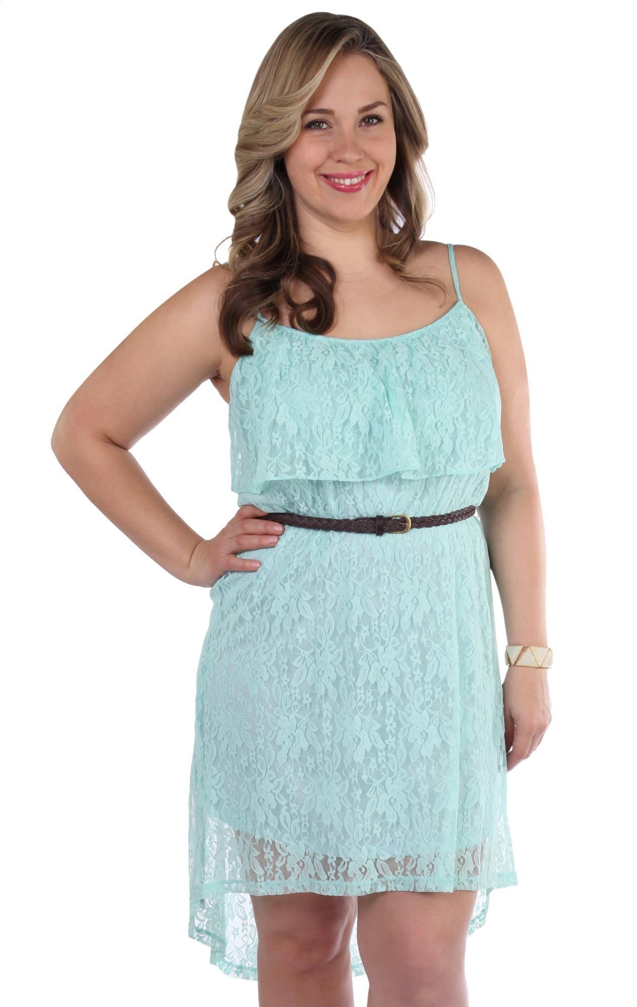 Deb Shops #mint plus size lace print high low #dress | Clothes ...