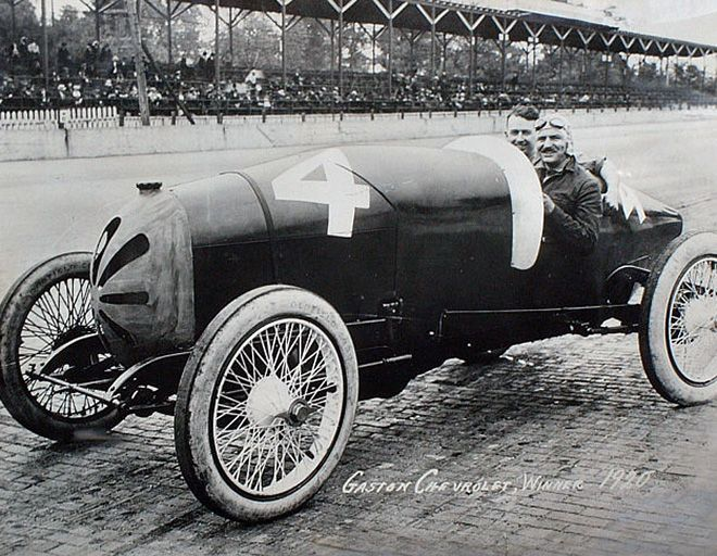 Gaston Chevrolet, winner, 1920 Indy 500; how cars have changed!