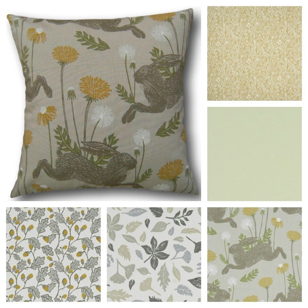 Cushion covers made with clarke u clarke new land u sea yellow green