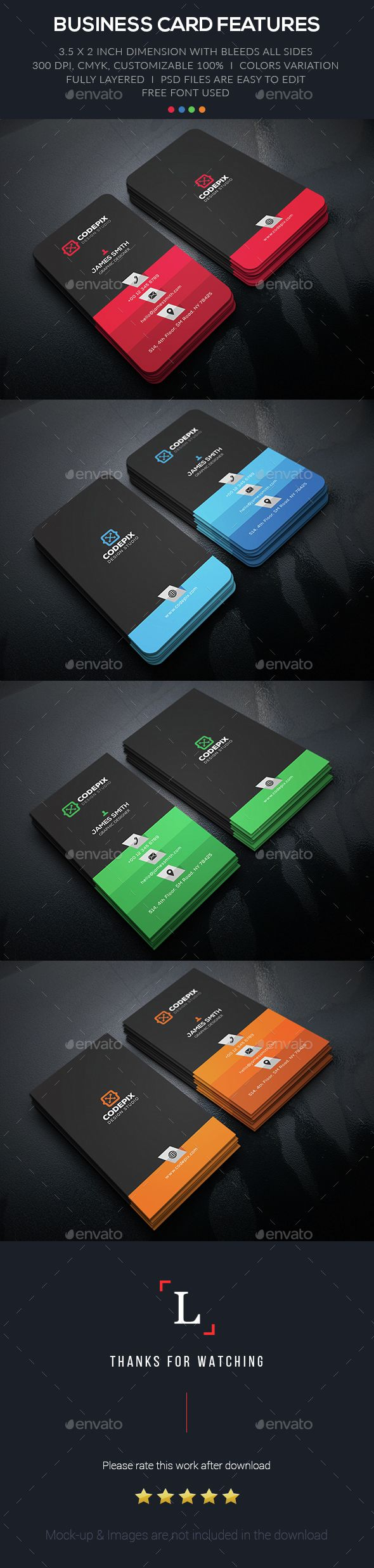 Color Corporate Business Card Business Cards Creative Business