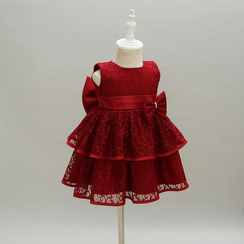 New Baby Girl Dress Hollow Lace Princess Infant Wedding Party Dresses Red White Newborn Gown baby girl clothes 0-24 month #babygirlpartydresses