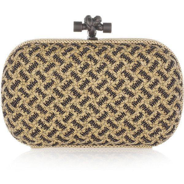 Bottega Veneta Snakeskin-trimmed beaded intrecciato leather knot... ❤ liked on Polyvore