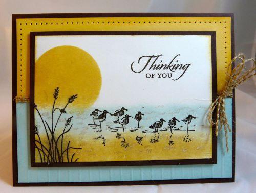 SU! Wetlands stamp set; colors are So Saffron, Soft Sky and Chocolate Chip - Michelle Surette