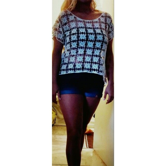 Crochet top with denim shorts