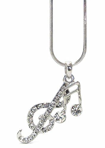 Lola Bella Gifts Crystal Treble Clef and Music Note Necklace with Gift Box