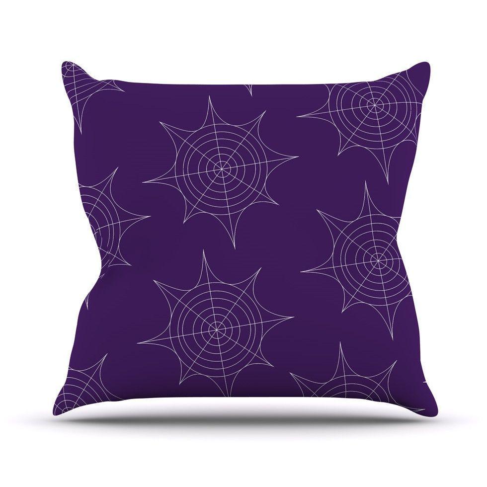 Spiderwebs Purple Outdoor Throw Pillow By Kess Original 其他