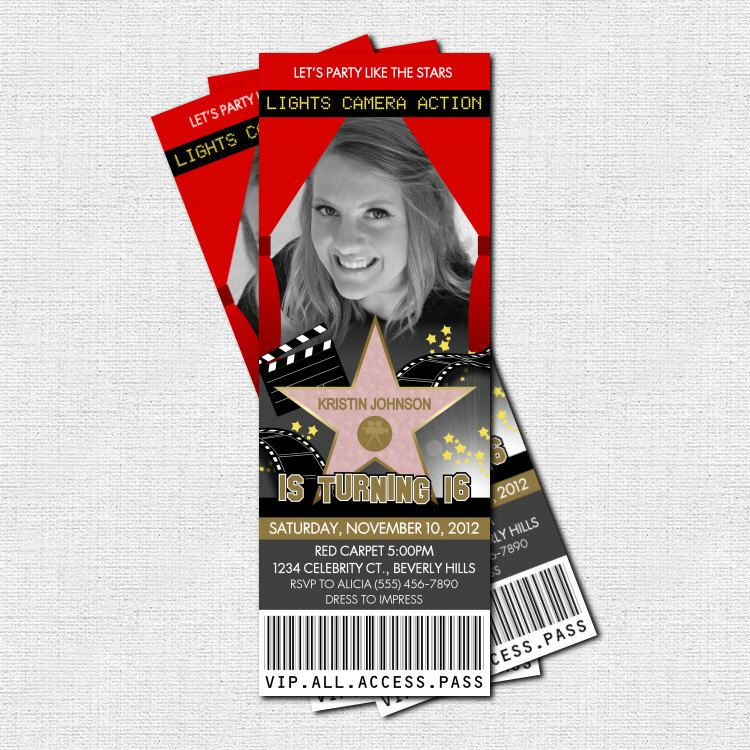 HOLLYWOOD TICKET INVITATIONS Red Carpet Party - (print your own ...