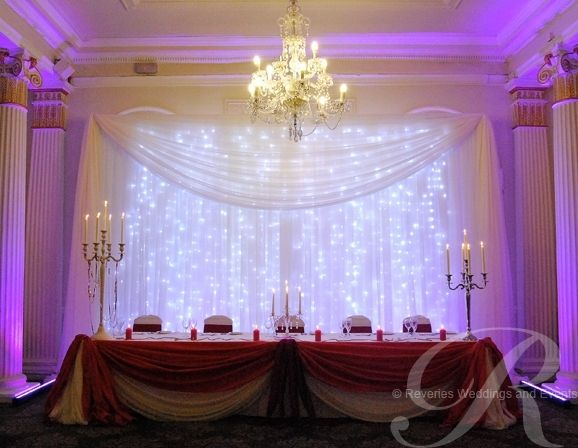 Elegant Drapery At Indoor Ceremony: Wedding Hire Party Marquee Linning