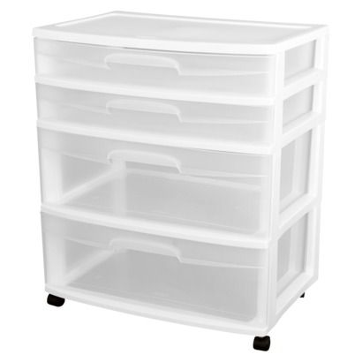 Sterilite 4 Drawer Storage Cart White Plastic Storage Cabinets Storage Drawers Storage Cart