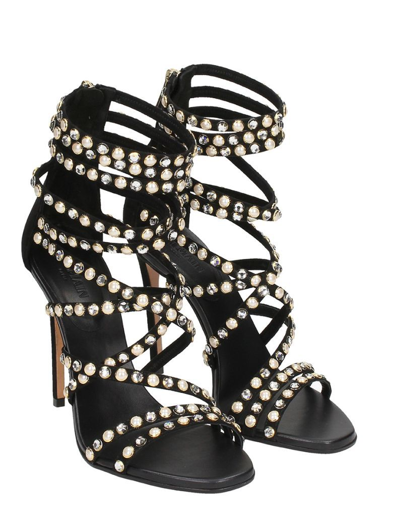 515bb31132a7 Balmain Strappy Crystal And Pearl-embellished Sandals - black