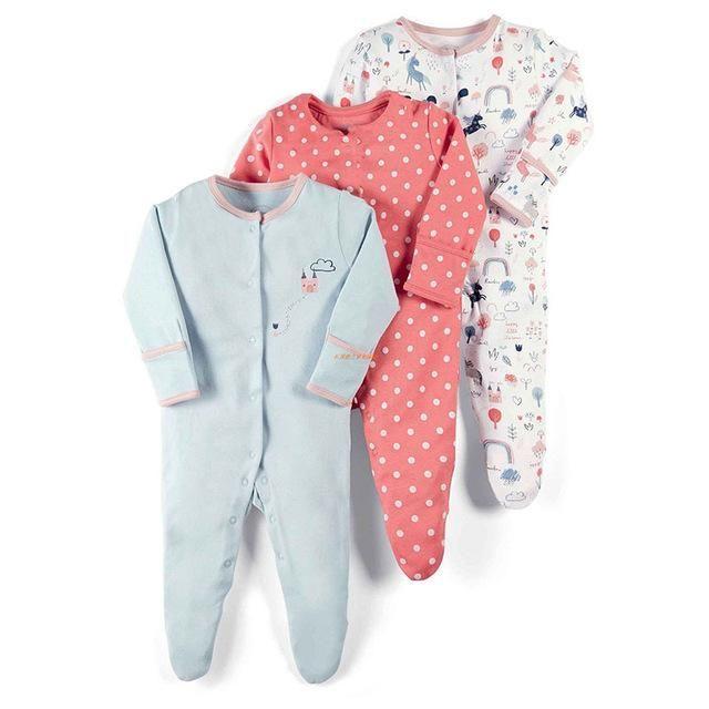 26a59d895e27 Baby Rompers Autumn Winter 3pcs Sleep Suit Dinosaur Print New Born ...