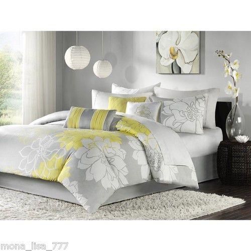 New 6 Pc Queen Full Duvet Set Yellow Gray White Modern Flowers Bedding Bed