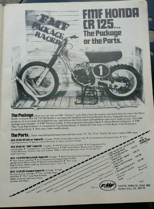Ordering a motorcycle by mail 1976 Honda CR125M