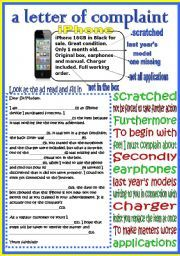 English Worksheet A Letter Of Complaint  Writing Letters