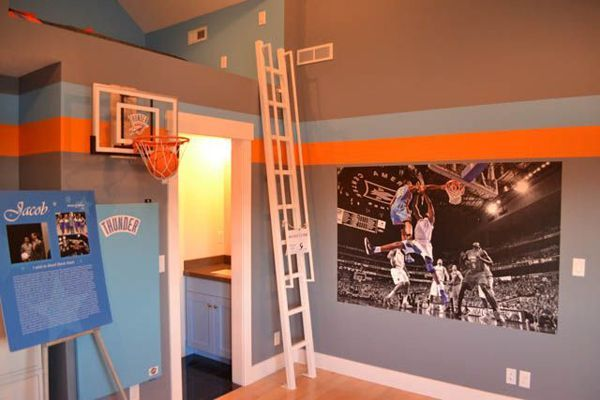20 Sporty Bedroom Ideas With Basketball Theme Basketball Themed Bedroom Basketball Room Basketball Theme Room