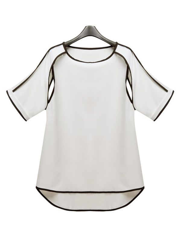 Solid Round Neck Hollow Chiffon Shirt. Super unique sleeves!