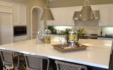 Arctic White Quartz Countertops Traditional Kitchen White Quartz