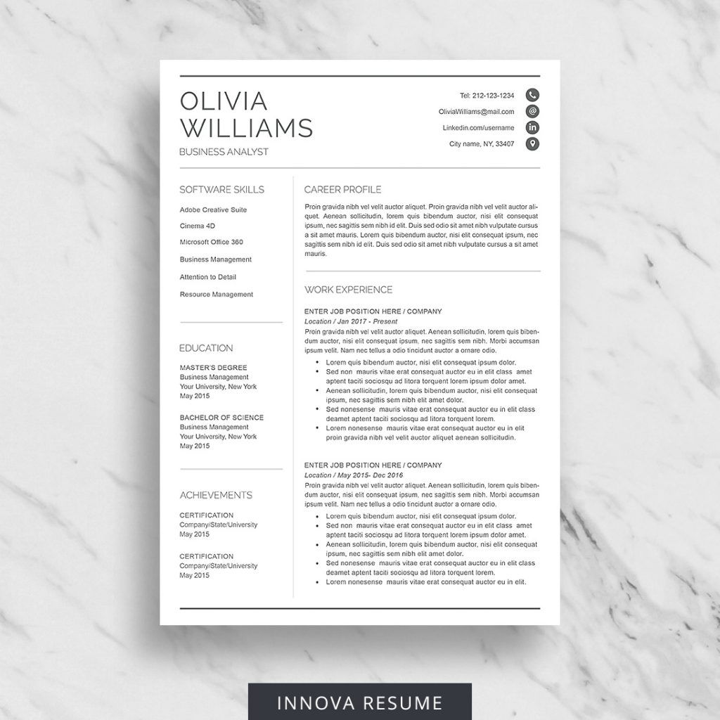 Professional Resume Template for Word Innova Resume in