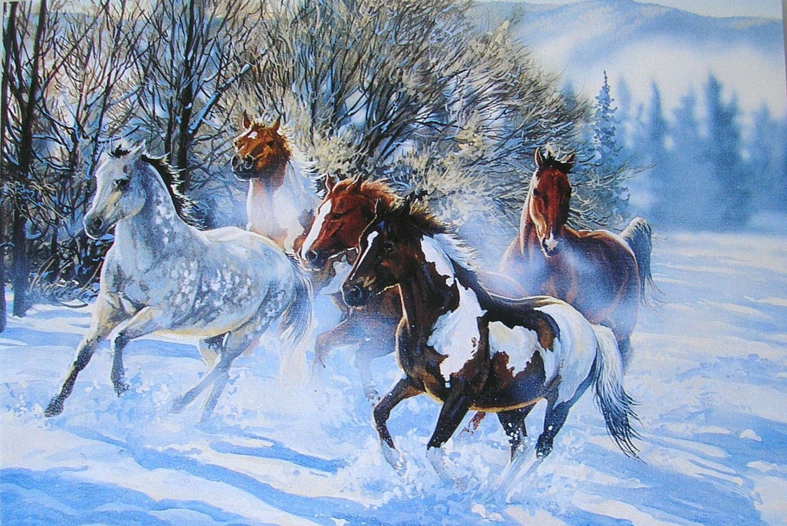 Leanin Tree Janene Grende Galloping Horses Snow Christmas Holiday Greeting Card