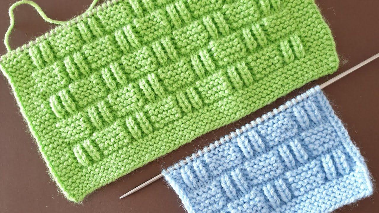 Kare ve çizgili bloklar örgü modeli #Knitting Pattern babies kids cardigans sweater
