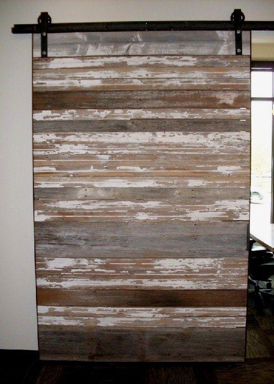 Weathered Barn Wood Sliding Door Idea Half Of Rail