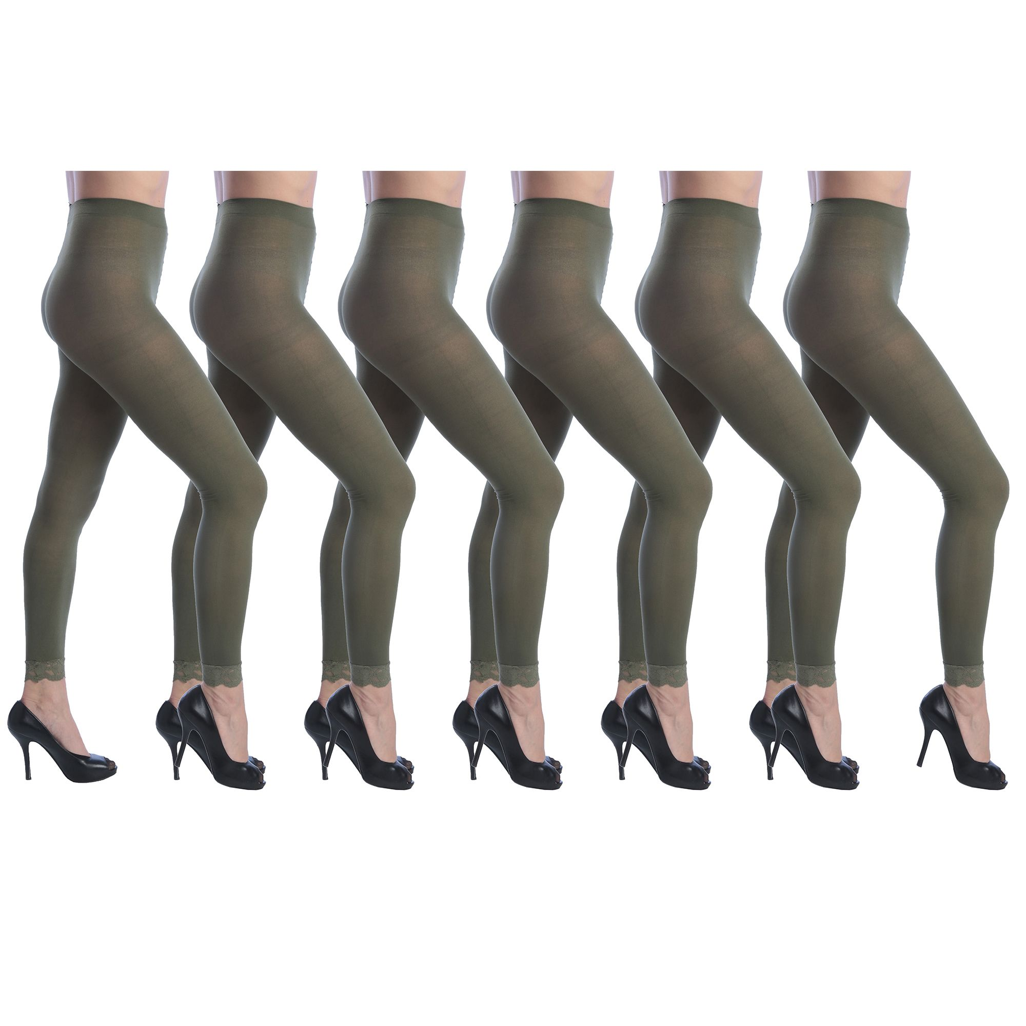 23e895a86 Isadora Women s 6 Pack Footless Tights with Lace Trim Set Pack ...