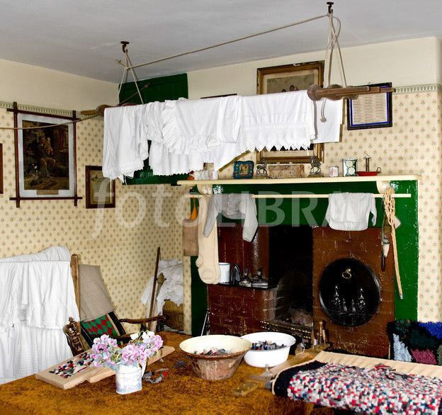 A Kitchen With Vintage Character: Victorian Edwardian Kitchen Interior In A Miner's Cottage