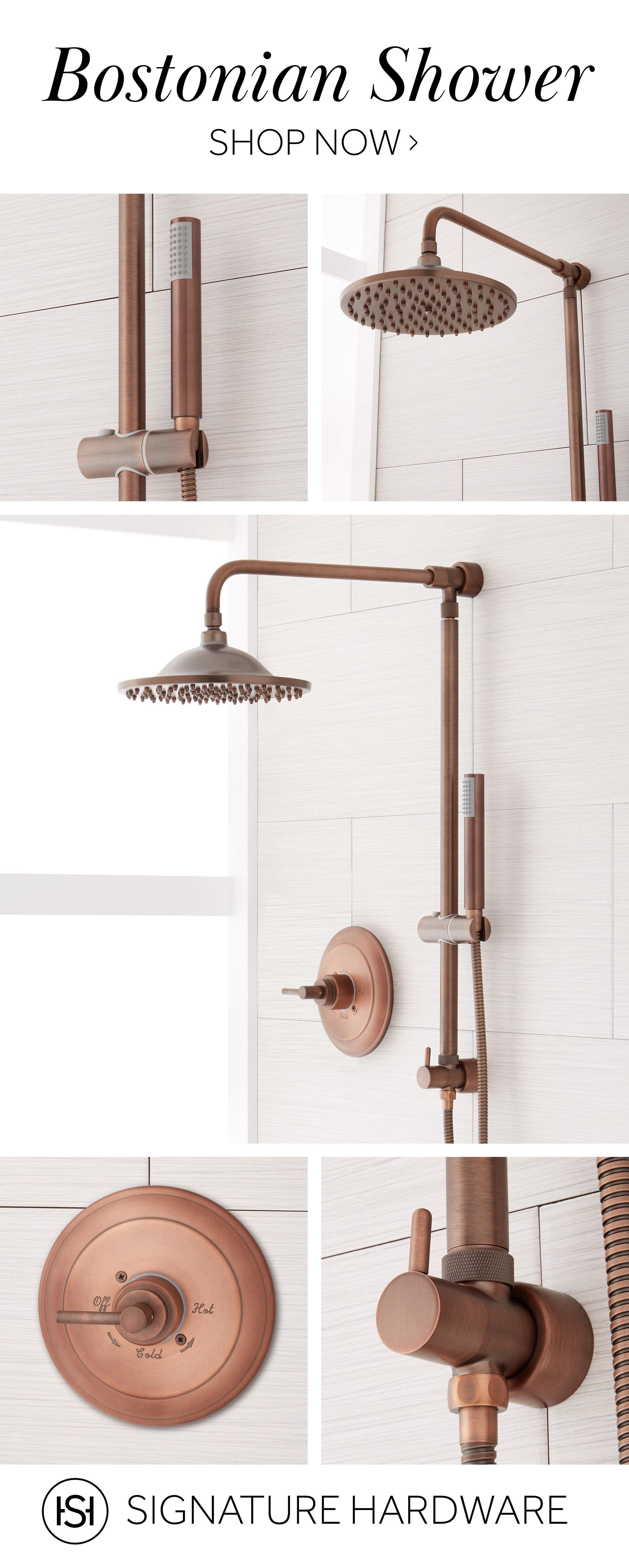 Bostonian Rainfall Nozzle Shower System - Hand Shower & Mixing Valve