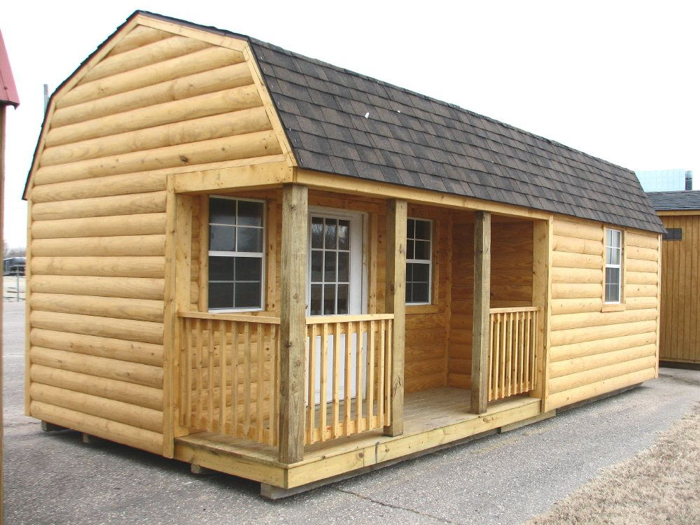 LOG CABIN Portable Storage Building Sheds Barns Kansas Portable