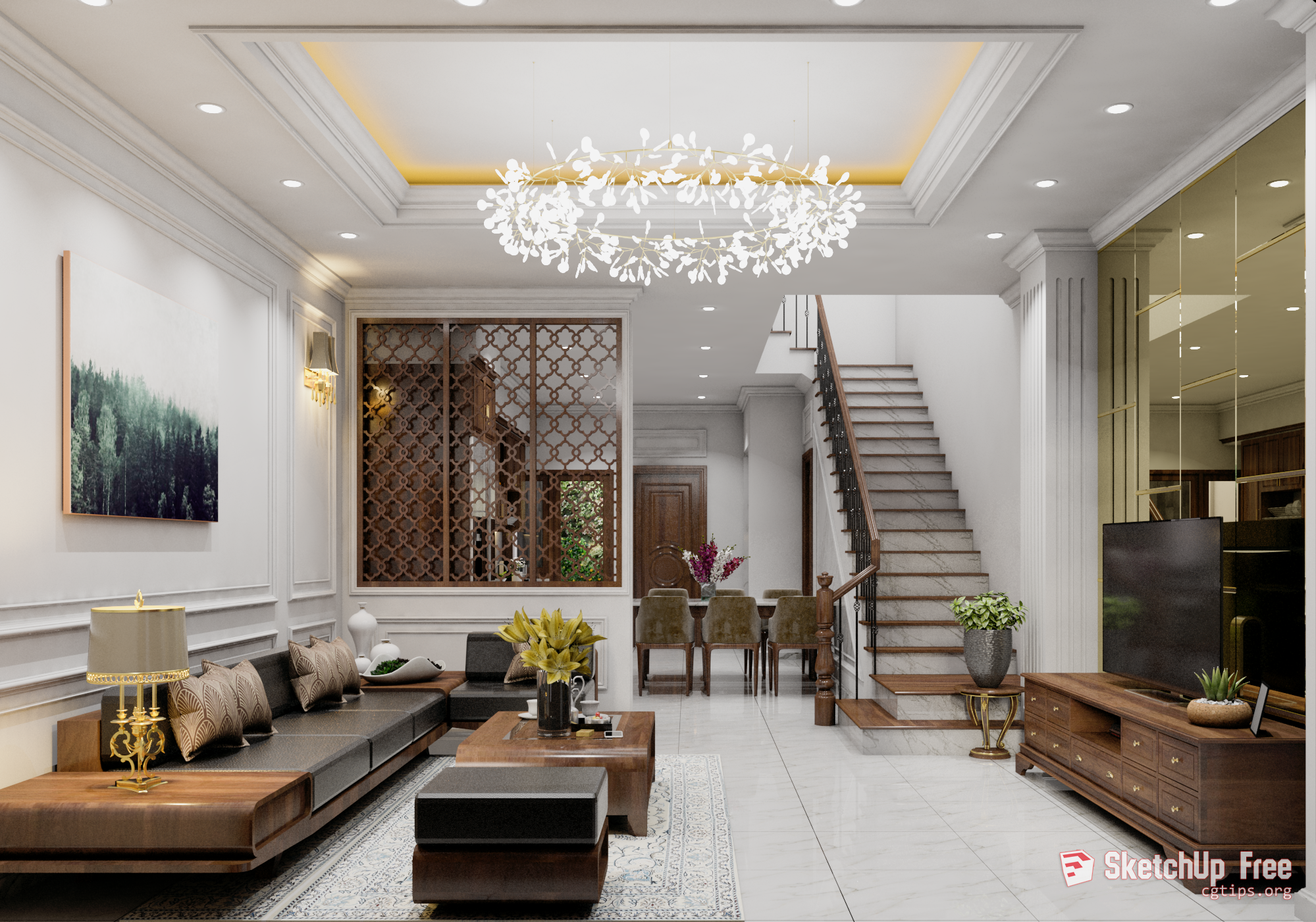 2075 Interior Livingroom Scene Sketchup Model Free Download With