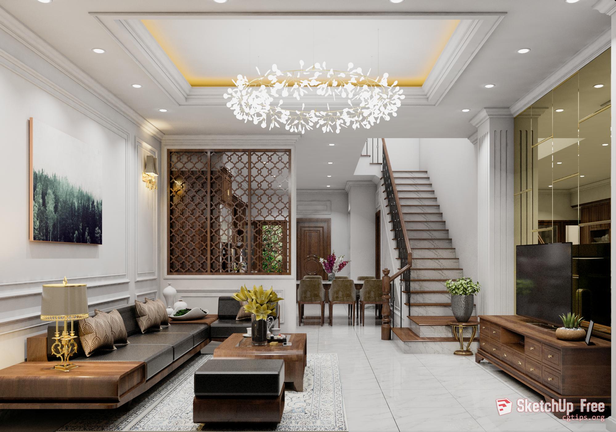 2075 Interior Livingroom Scene Sketchup Model Free Download Living Room Interior Sketchup Model Living Room Designs