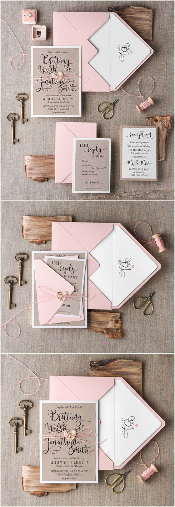 ideas for country wedding invitations%0A Rustic pink wedding invitations  rusticwedding  countrywedding  weddingideas