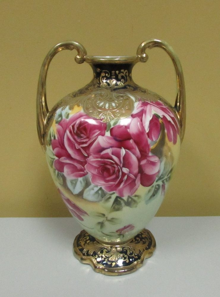 Beautiful Unusual Dark Green Antique Nippon Vase Roses Heavy Gilding